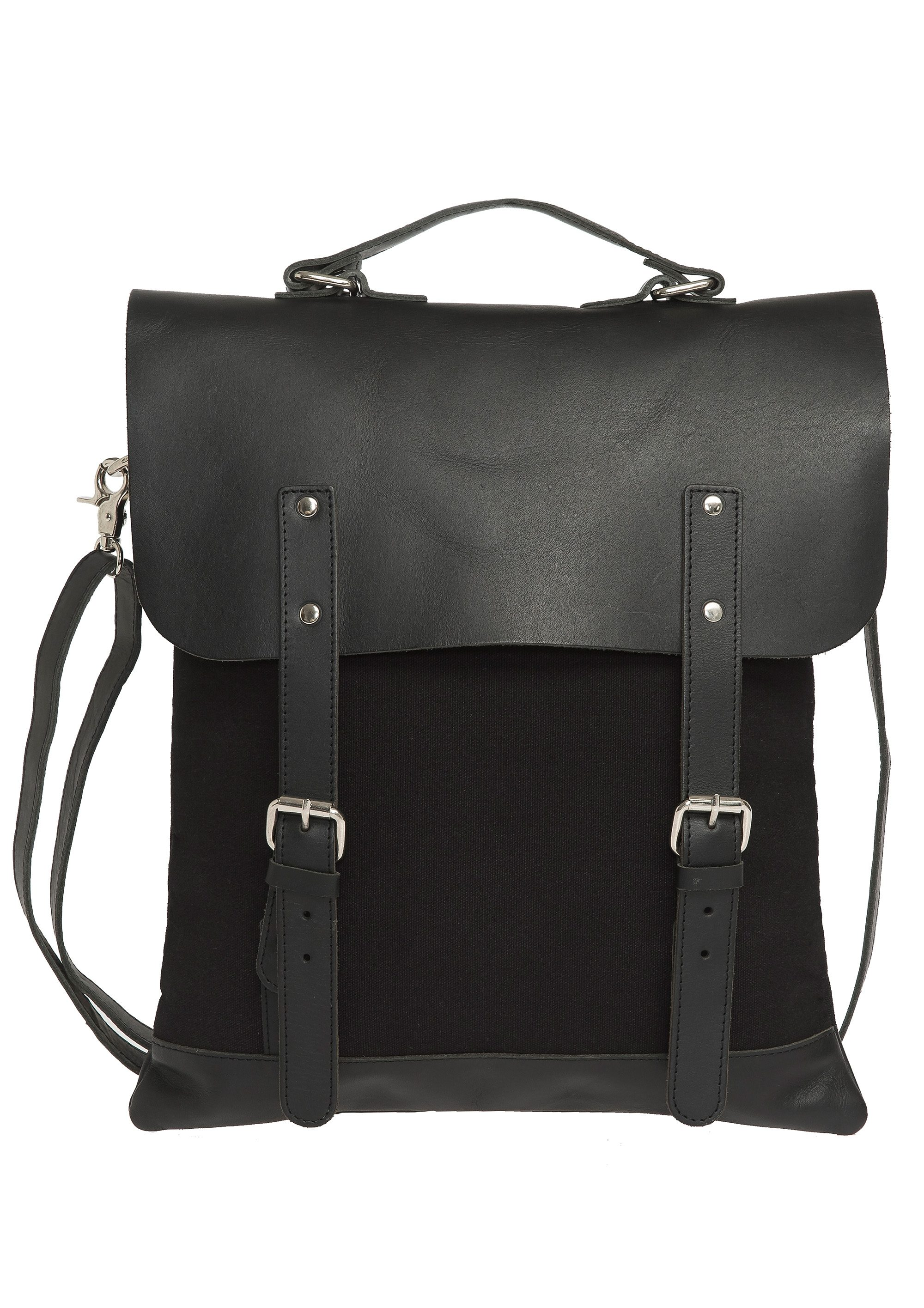 Enter Rucksack, »Messenger Tote Leather Top, Black«