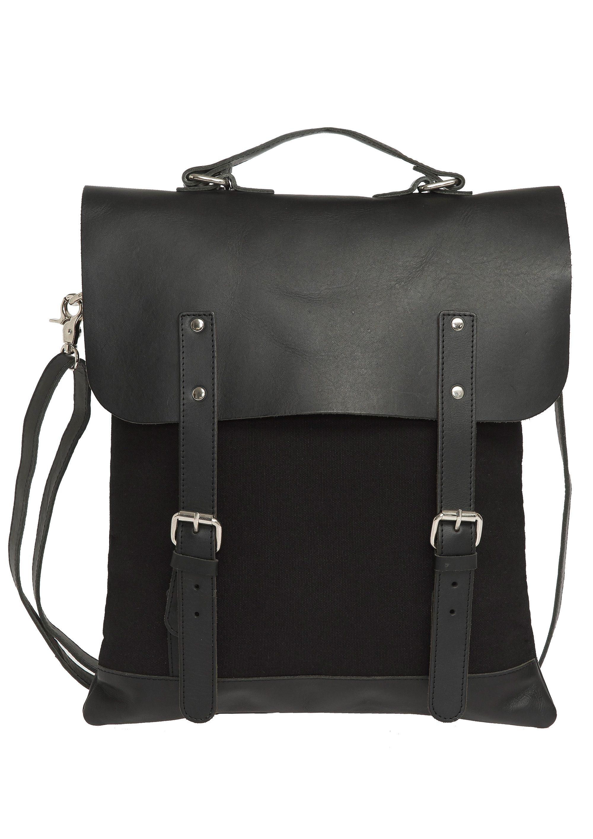 Enter Rucksack, »Messenger Tote Leather Top, Black«