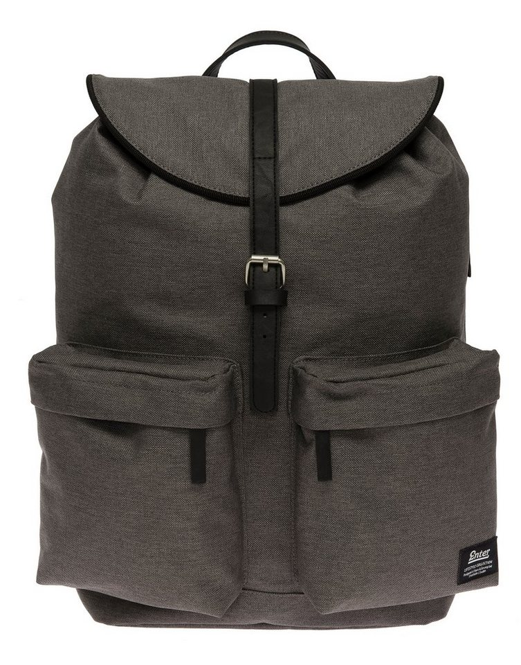 Enter Rucksack mit Kordelzug, »Hiker Backpack, Melange Black« in melange grau