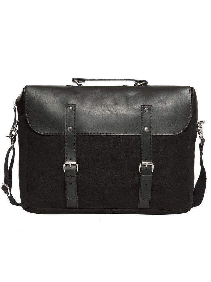 Enter Aktentasche, »Brief Leather Top, Black« in schwarz