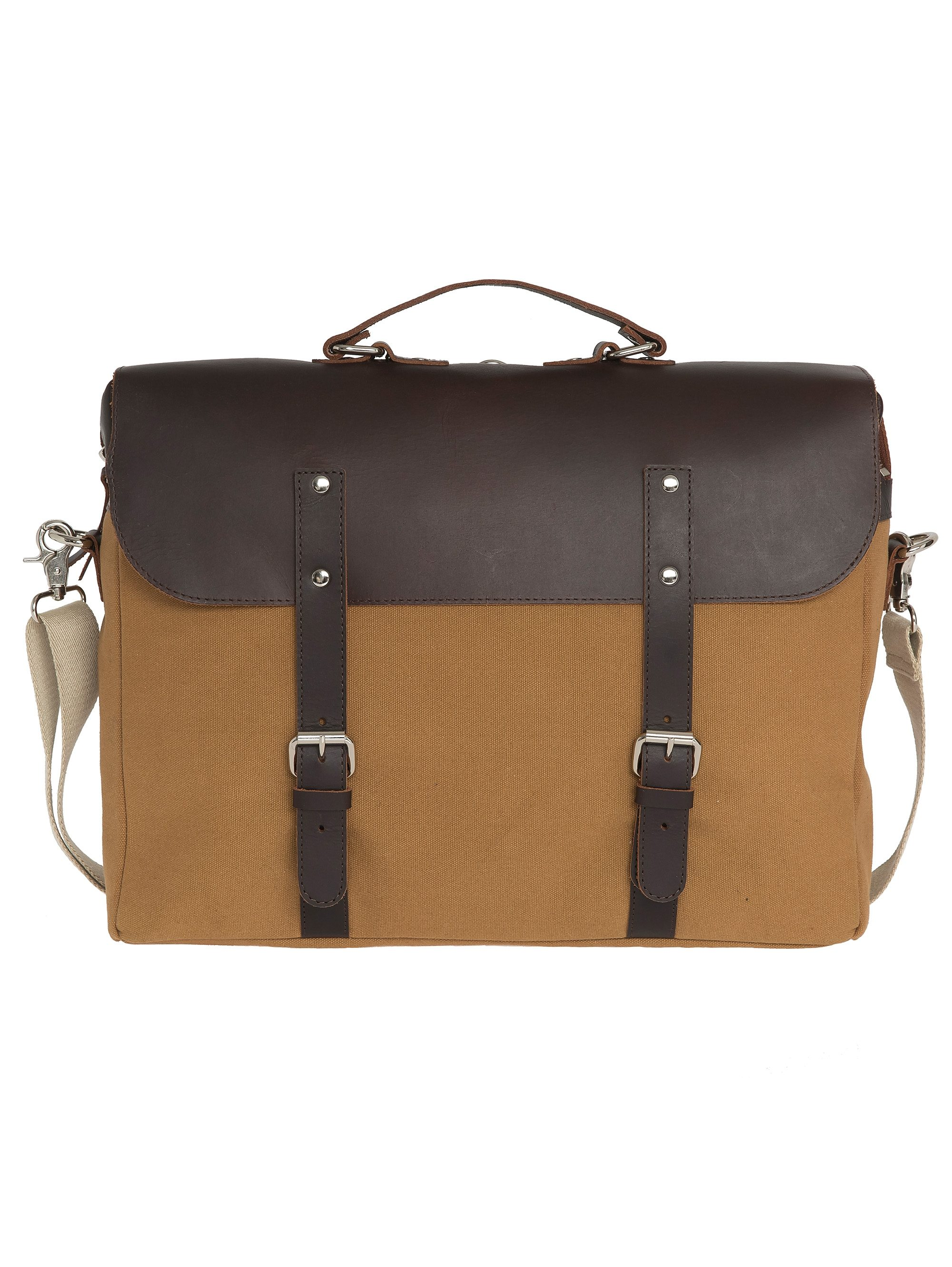 Enter Aktentasche, »Brief Leather Top, Khaki/Dark Brown«