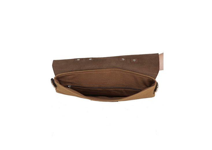 Enter Rucksack, Messenger Tote Leather Top, Khaki/Dark Brown