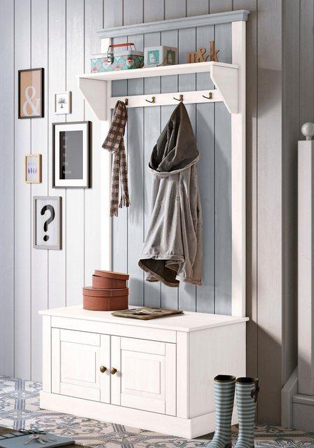 Garderoben Sets - Home affaire Kompaktgarderobe »Malibu« aus massivem Kiefernholz, in zwei unterschiedlichen Farbvarianten  - Onlineshop OTTO