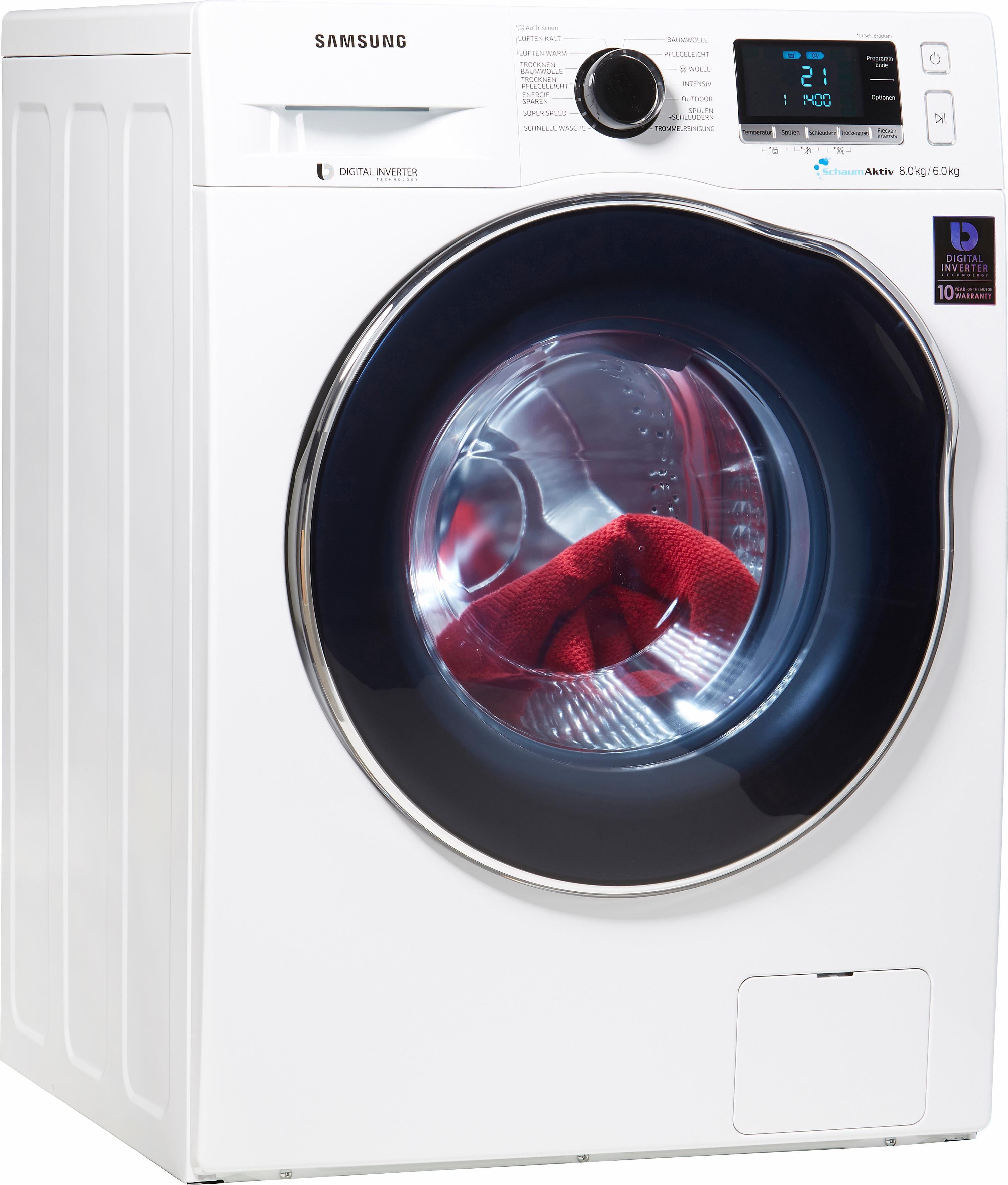 Samsung Waschtrockner WD6000 WD80J6400AW/EG, A, 8 kg / 6 kg, 1.400 U/Min