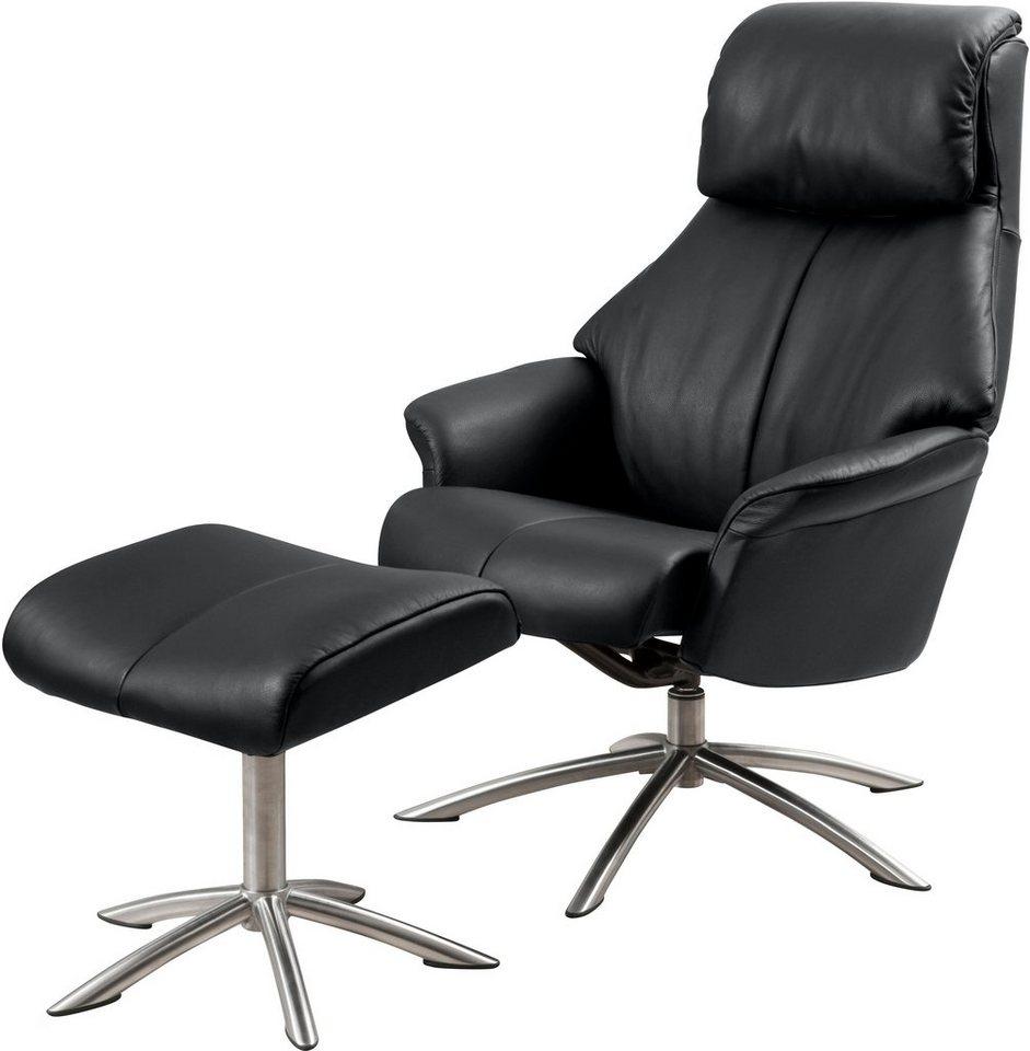 Set: Relaxsessel mit Hocker »Scandi 150«, mit integrierter stufenloser Kopfpolsterverstellung in schwarz
