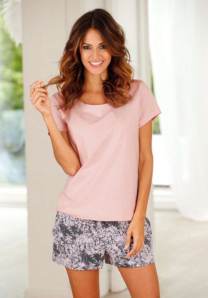 Buffalo Shorty mit gemusterter Shorts & softem Basic T-Shirt in rosa gemustert