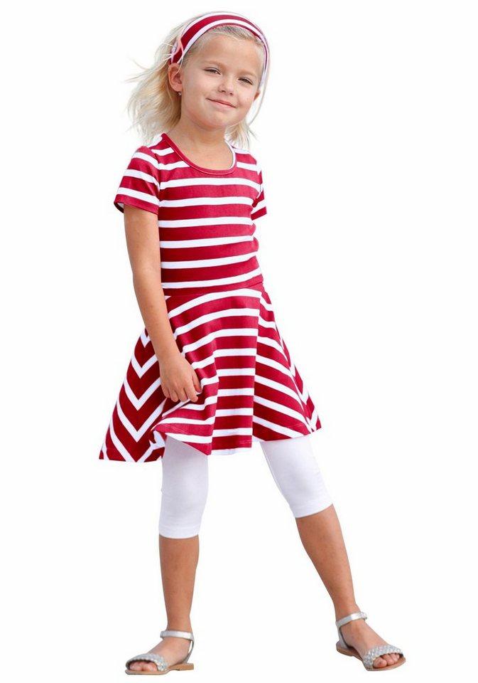 Kidoki Kleid, Leggings & Haarband (3-tlg.), für Mädchen in Rot-Gestreift
