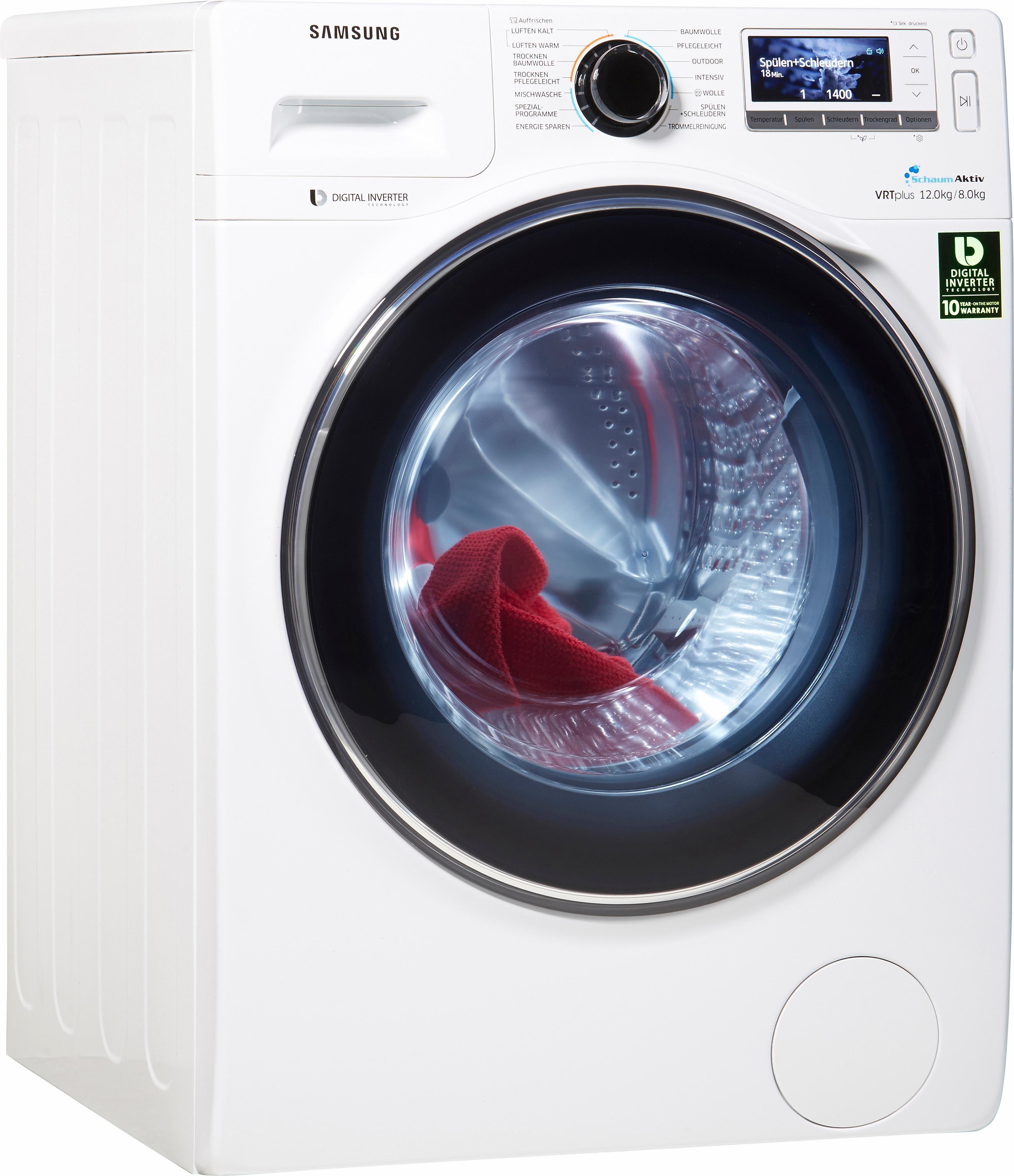 Samsung Waschtrockner WD8000 WD12J8400GW/EG, A, 12 kg / 8 kg, 1.400 U/Min