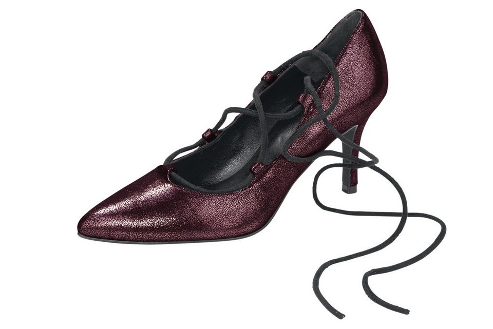 Heine Pumps in bordeaux/metallic