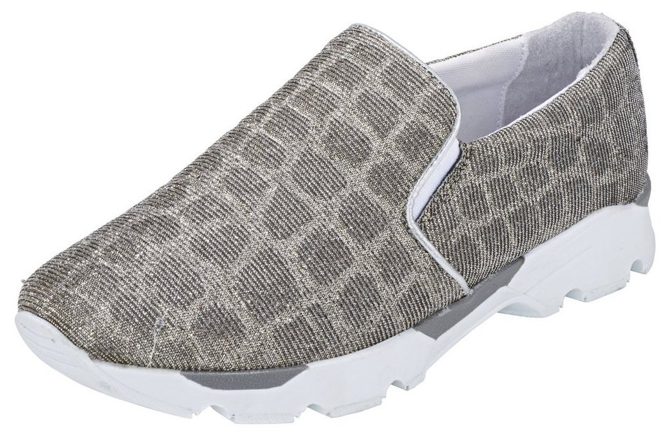 Heine Slipper in taupe/silberfarben
