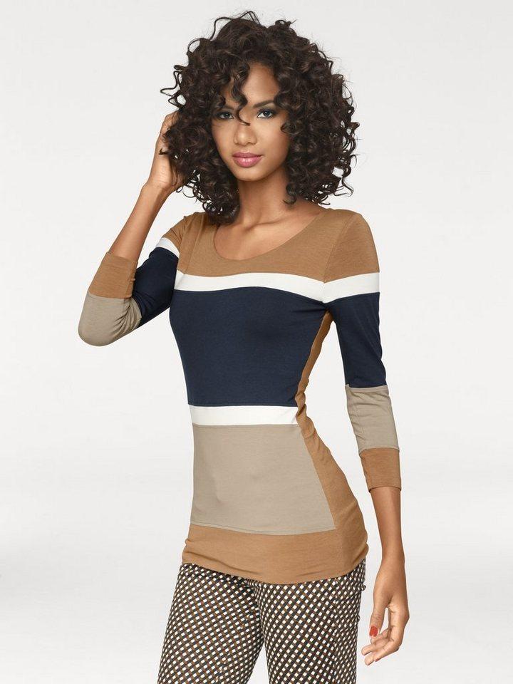 Bodyform-Rundhalsshirt in marine/camel
