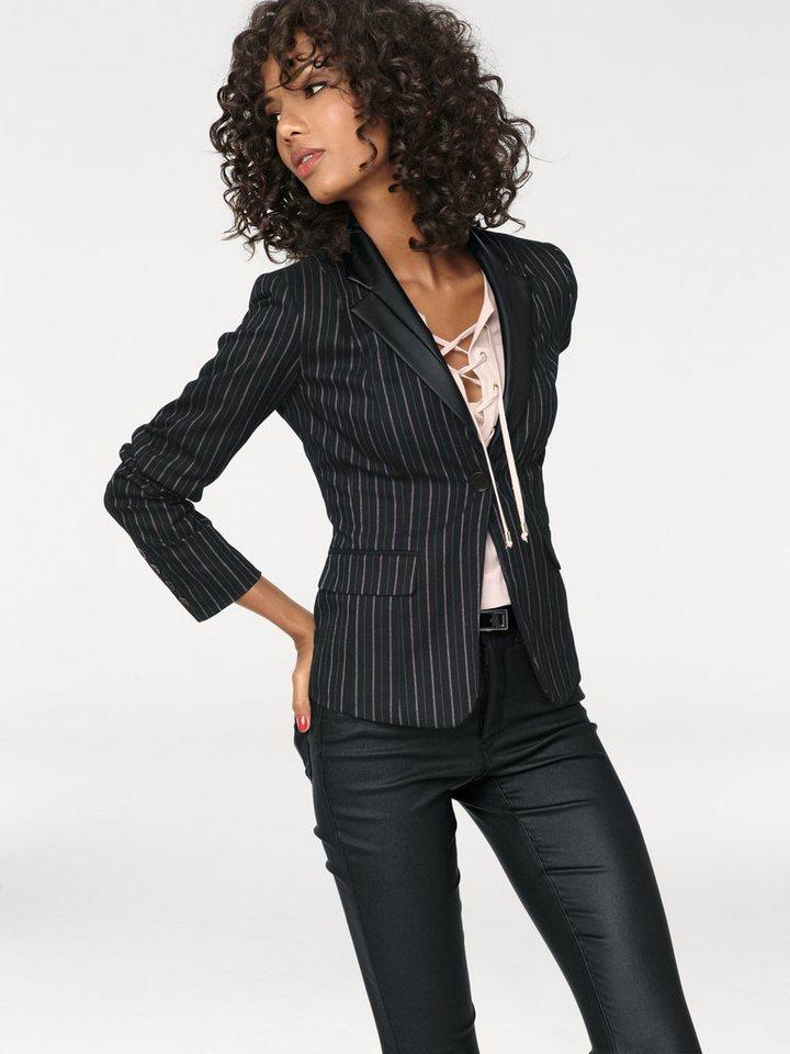 Bodyform-Kurzblazer in schwarz/rosa