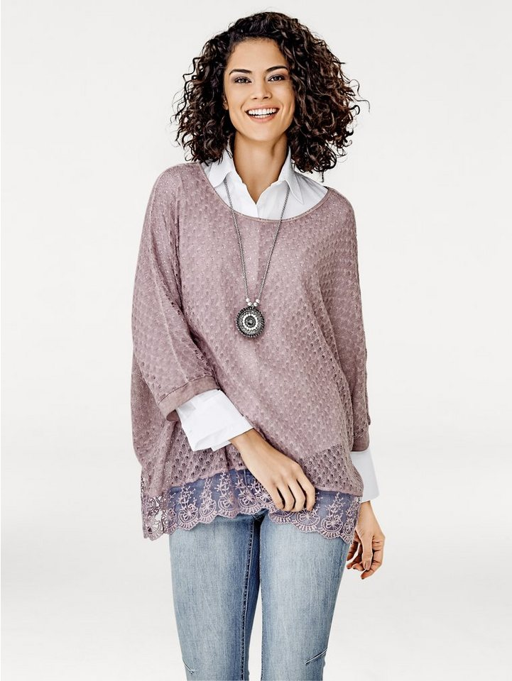 LINEA TESINI by Heine Oversized-Pullover mit Spitze in rosenholz