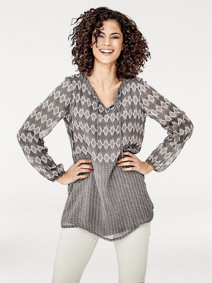 Druckbluse in taupe