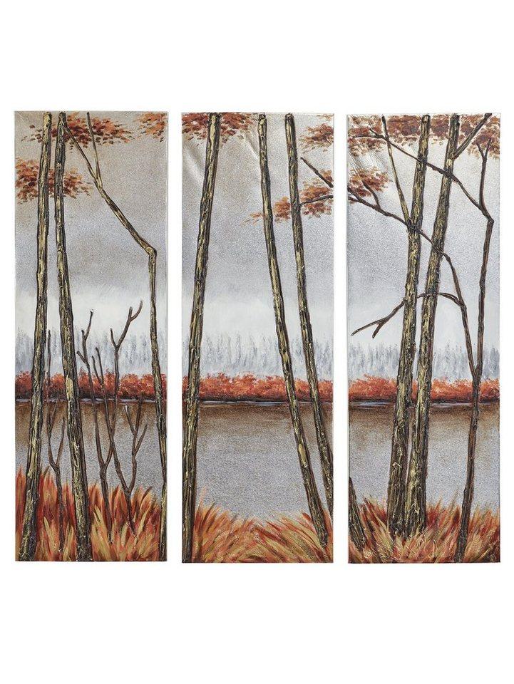 Originalgemälde, 3-teilig in rot/silberfarben
