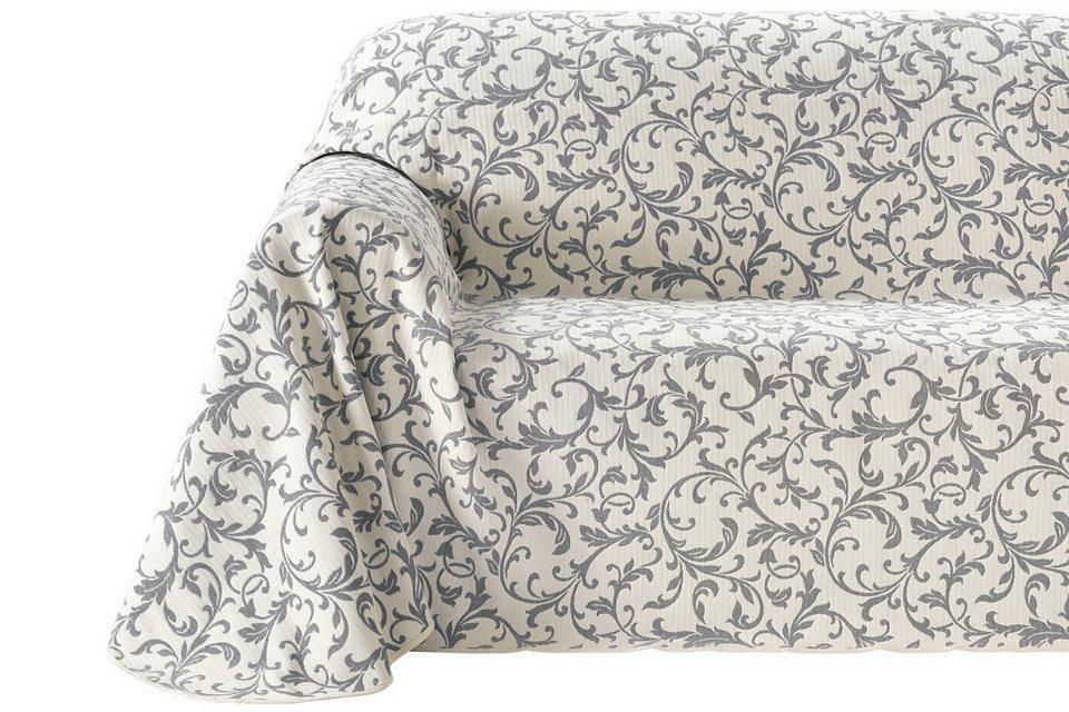 Sofaüberwurf in creme/grau
