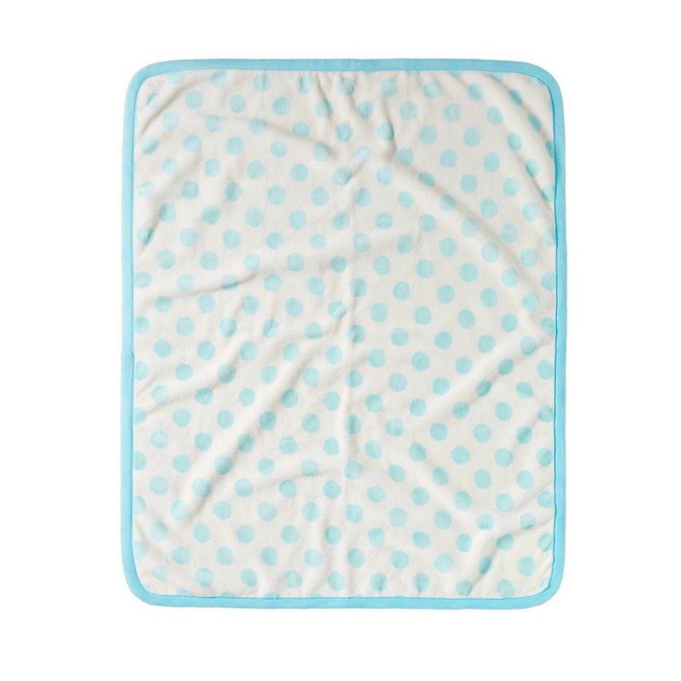BORNINO HOME Babydecke Punkte 80x100 cm in blau / weiss