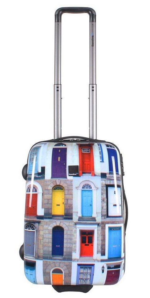 Saxoline blue Trolley mit 2 oder 4 Rollen, »Doors« in bunt