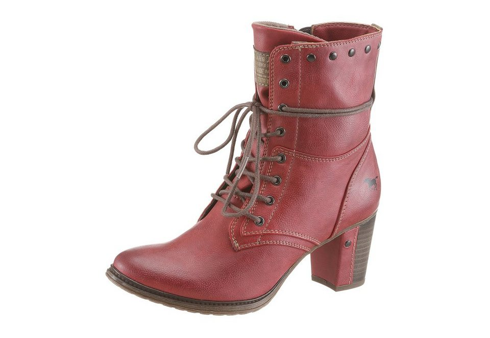 Mustang Shoes Stiefelette mit Zierschnürung in rot