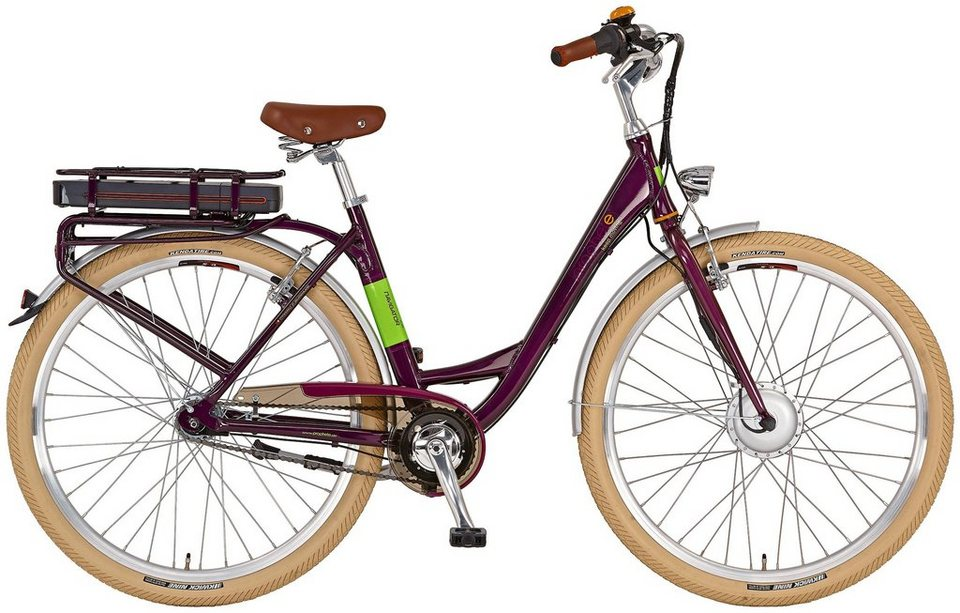 Prophete E-Bike City Damen »Navigator Flair«, 28 Zoll, 7 Gang, Frontmotor, 374 Wh in lila