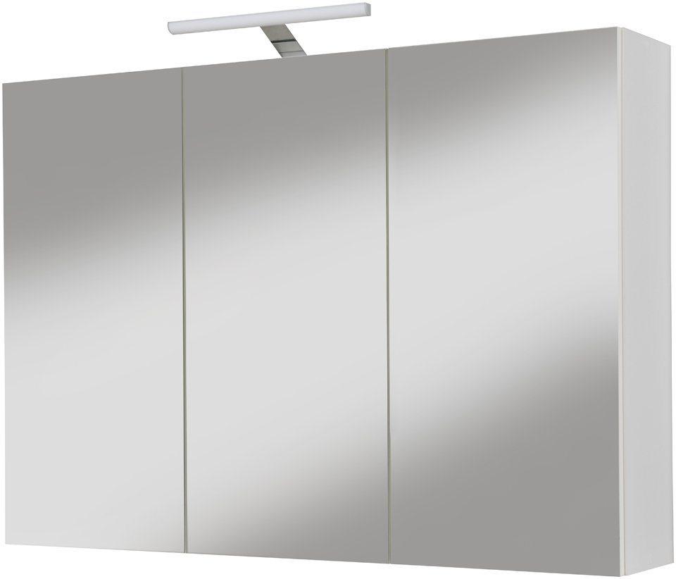 Spiegelschrank »Sina« Breite 96 cm, mit LED-Beleuchtung in silberfarben