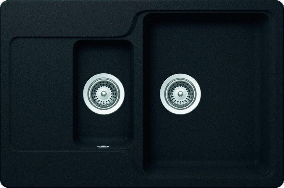 Domogranitspüle »Lucca«, mit Restebecken, 77x51 cm in schwarz