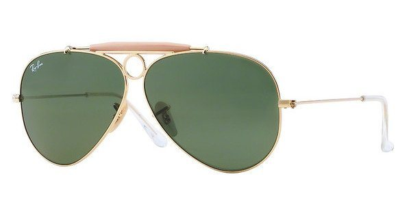 RAY-BAN Herren Sonnenbrille »SHOOTER RB3138« in 001 - gold/grün