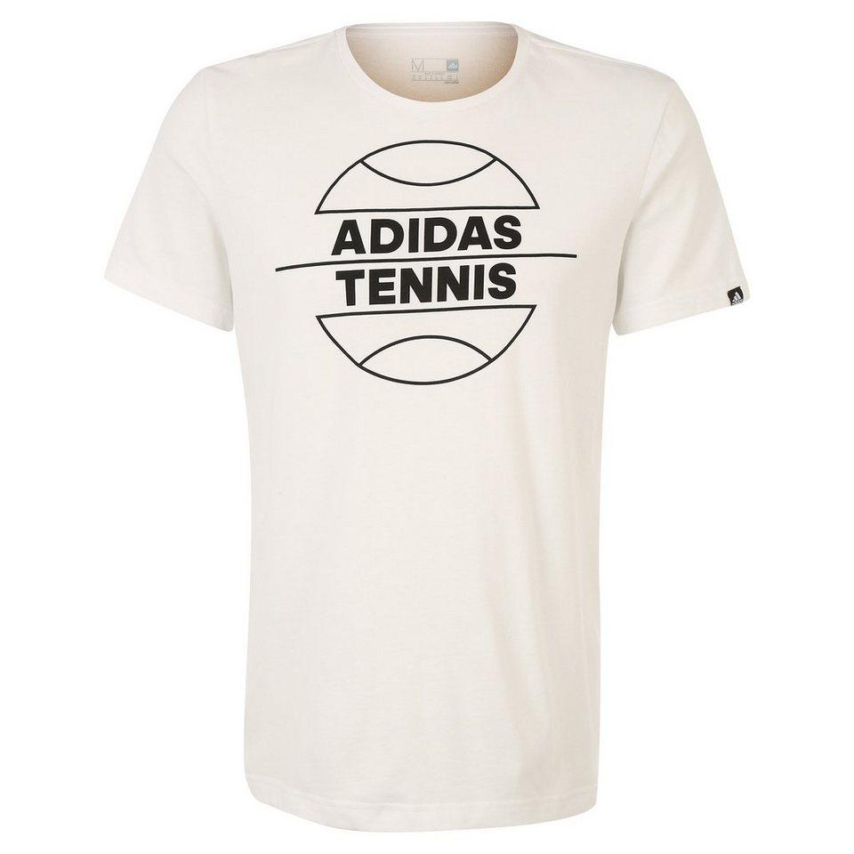 adidas Performance Tennis Ball Tennisshirt Herren in weiß / schwarz