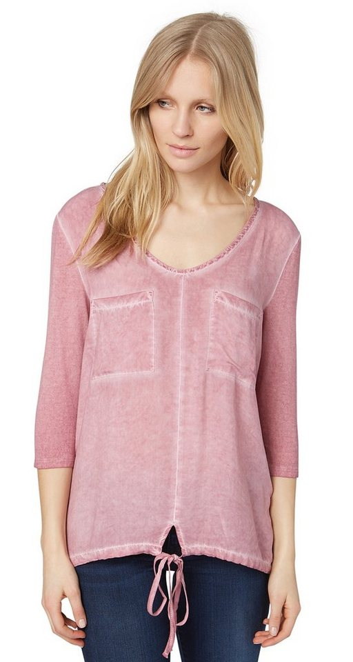 TOM TAILOR T-Shirt »Langarm T-Shirt mit Waschung« in Charming Mauve