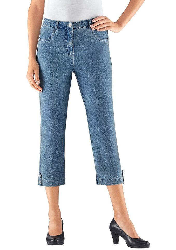 Collection L. 7/8-Jeans mit Zierriegel und Dekoknöpfe am Beinabschluss in blue-bleached