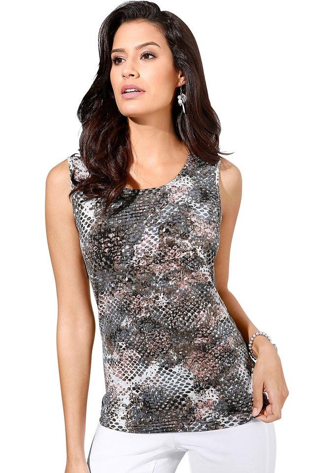 Lady Shirttop mit Rundhals-Ausschnitt in grau-gemustert