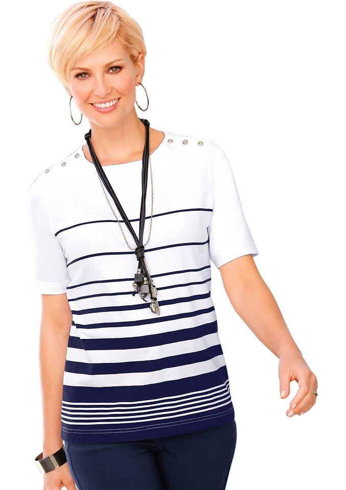 Collection L. Shirt mit lässigen Streifen-Dessin in marine-gestreift