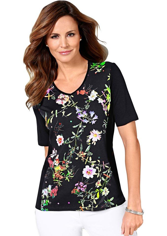 Lady Shirt mit paspeliertem V-Ausschnitt in schwarz-bedruckt