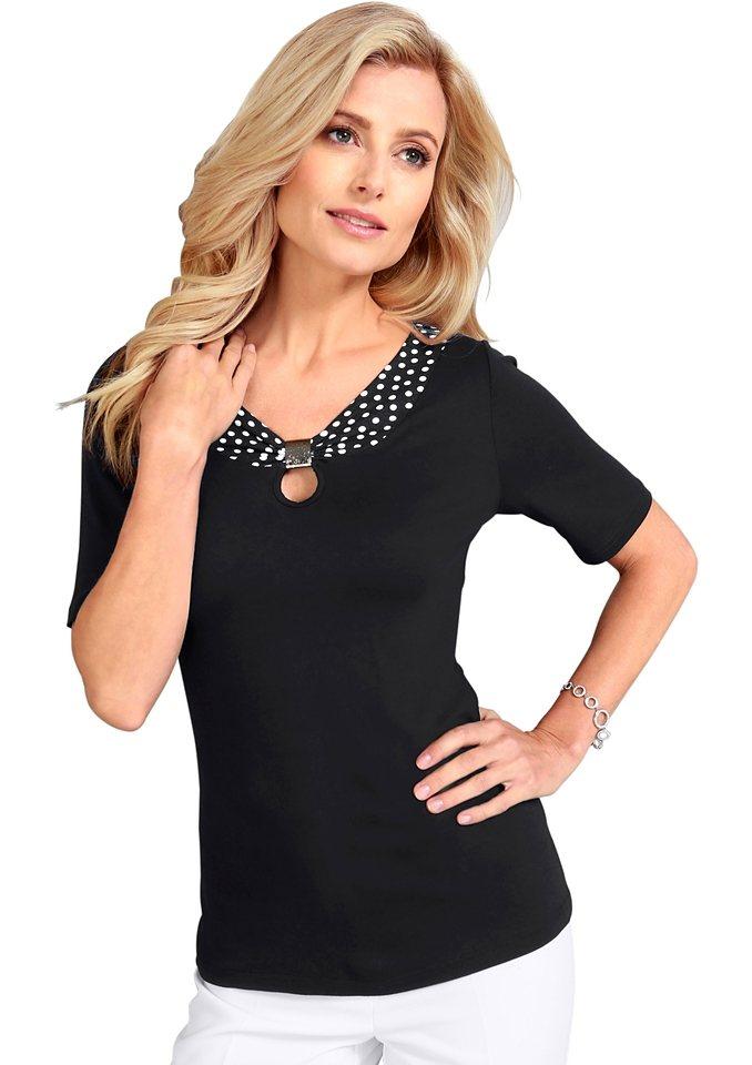 Lady Shirt mit Deko-Spange vorne in schwarz
