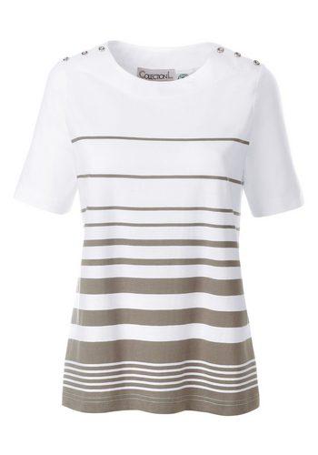 Damen Collection L. Shirt mit lässigen Streifen-Dessin braun | 05205012271324