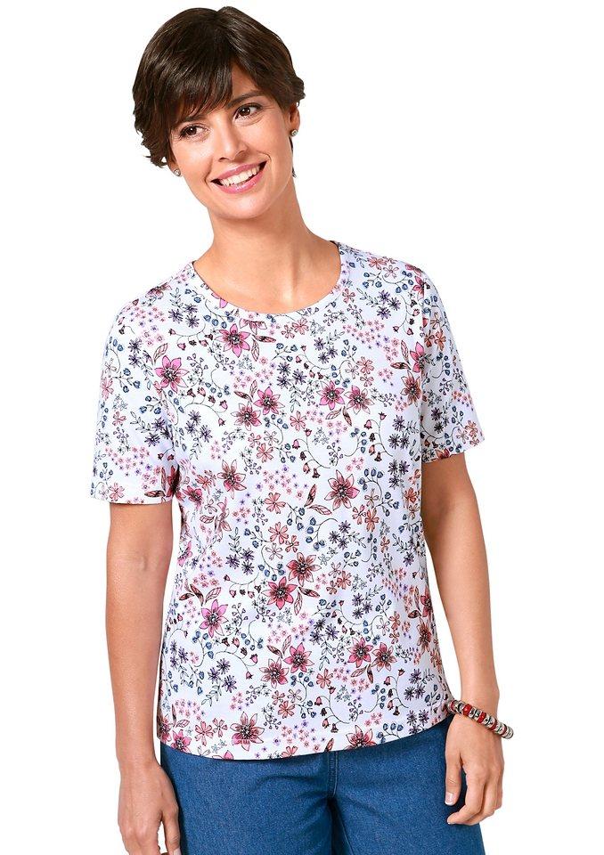 Classic Basics Shirt mit paspeliertem Rundhals-Ausschnitt in koralle-gemustert