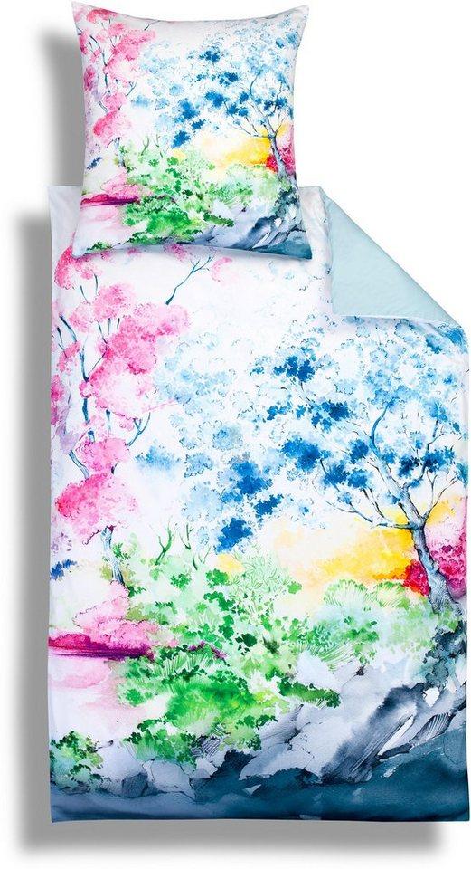 Wendebettwäsche, Estella, »Asia«, mit farbigen Bäumen in multi
