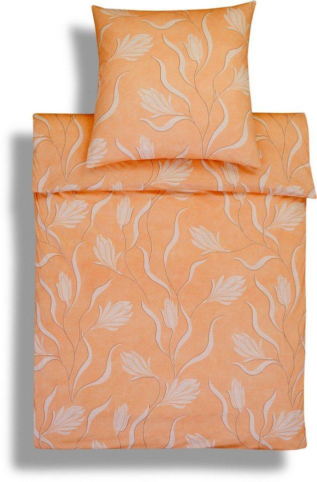 Bettwäsche, Estella, »Ekatarina«, mit modernen Blüten in orange