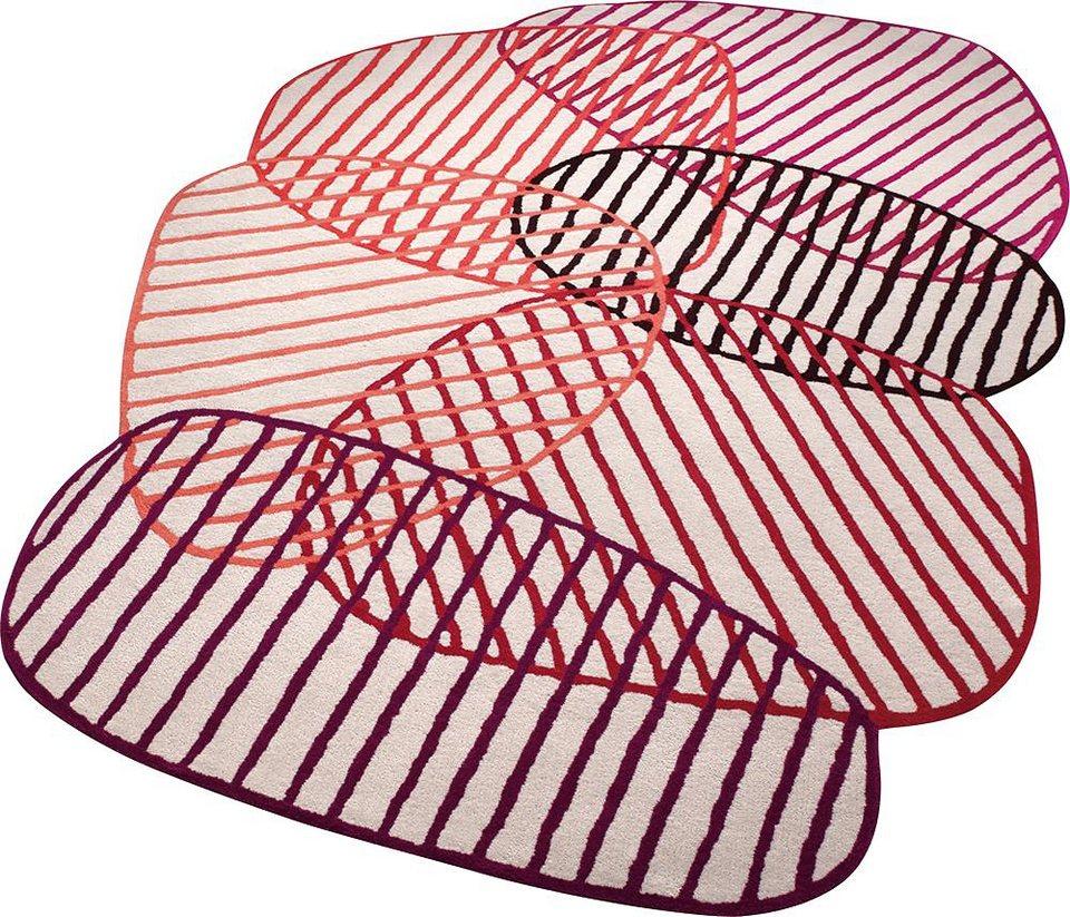 Teppich, ESPRIT, »Graphic Jungle«, Sonderform, handgetuftet in rot