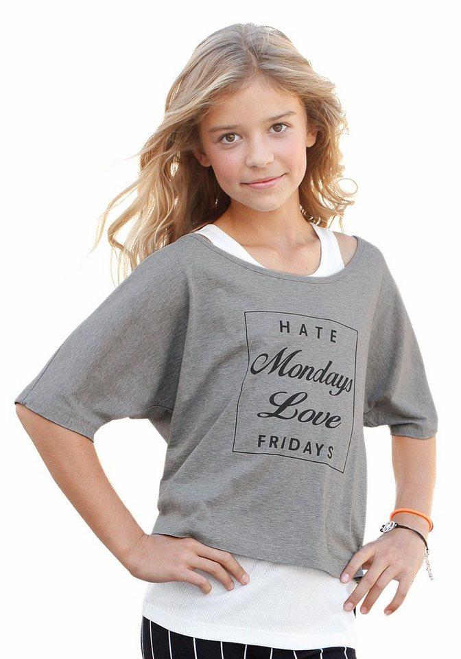 Arizona Shirt & Top mit Frontdruck (Set, 2-tlg.), für Mädchen in grau-meliert-natur-bedruckt