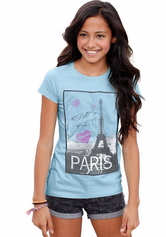 Arizona Longshirt mit Fotodruck in hellblau-meliert