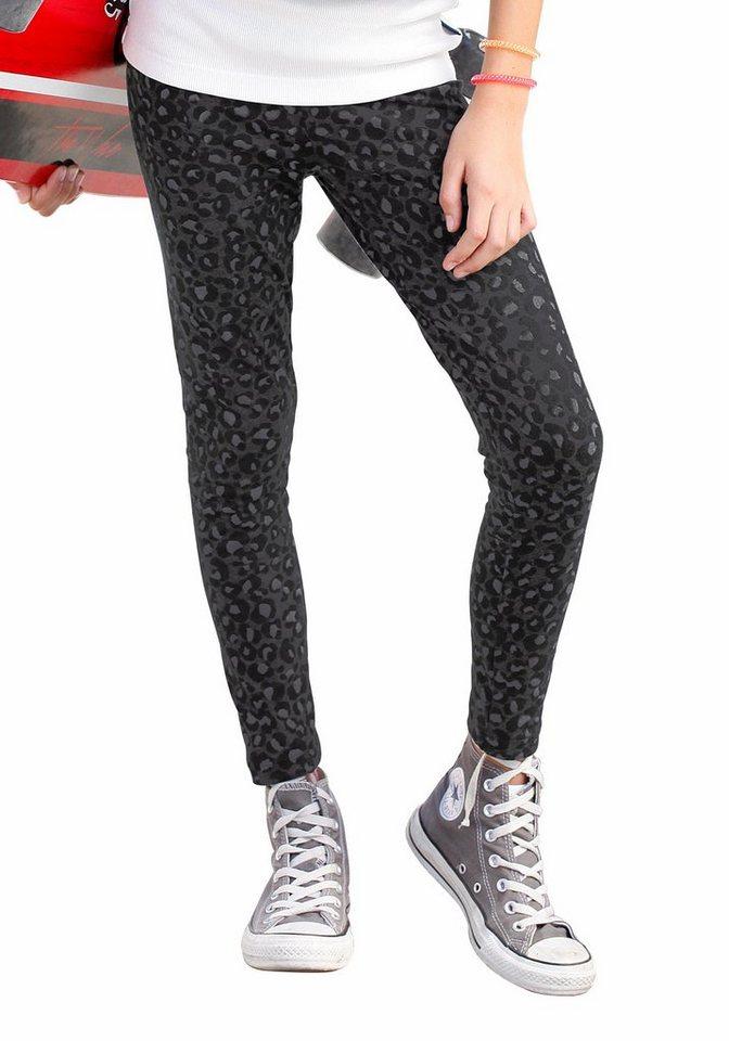 Arizona Leggings mit Leodruck in schwarz-grau-bedruckt