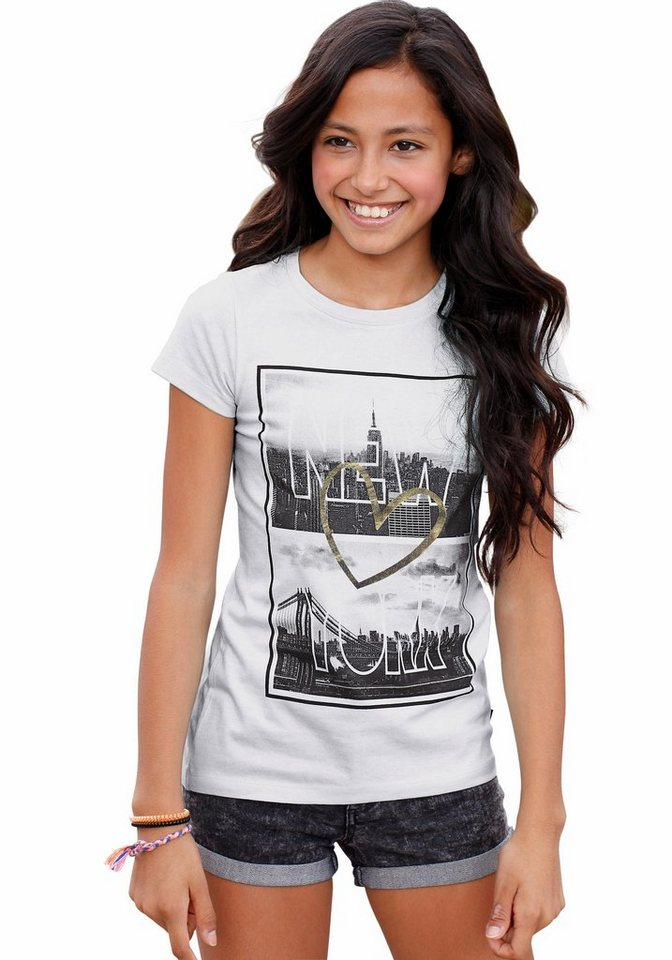Arizona Longshirt mit Fotodruck, für Mädchen in weiß
