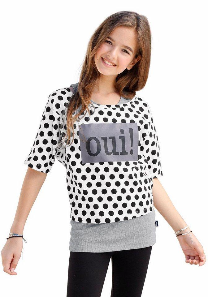 Arizona Shirt & Top mit Frontdruck (Set, 2-tlg.), für Mädchen in weiß-Bedruckt-schwarz