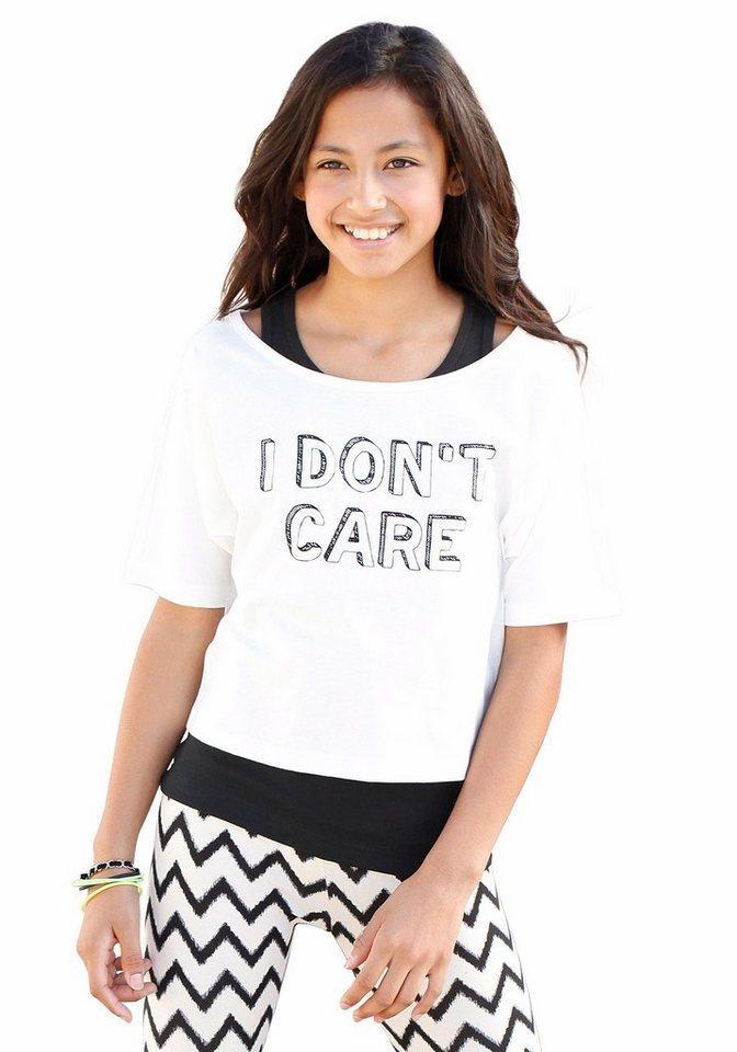 Arizona Shirt & Top mit Frontdruck (Set, 2-tlg.), für Mädchen in natur-bedruckt-schwarz