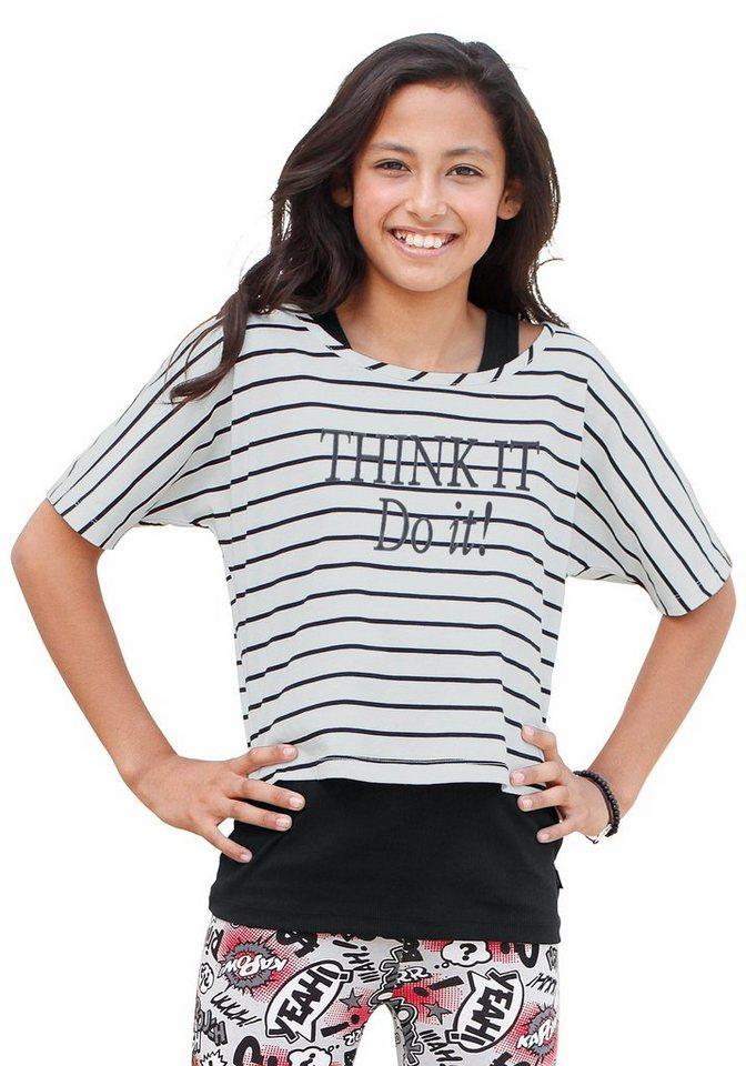 Arizona Shirt & Top mit Frontdruck (Set, 2-tlg.), für Mädchen in weiß-schwarz-gestreift