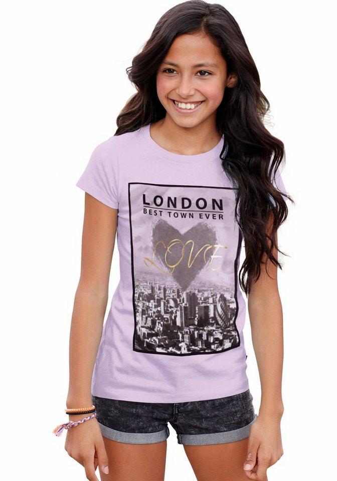Arizona Longshirt mit Fotodruck in flieder-meliert