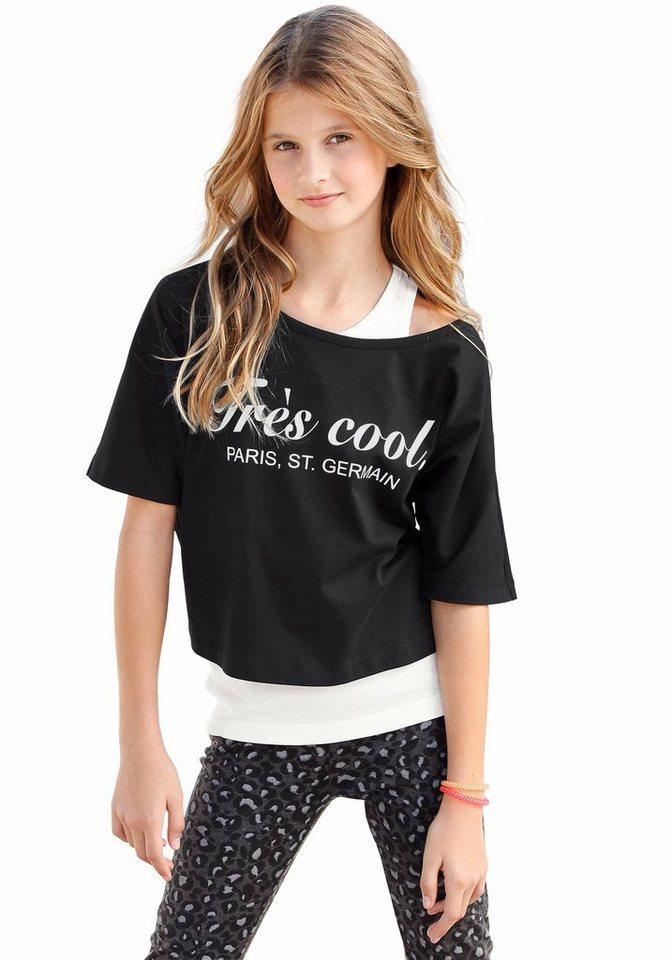 Arizona Shirt & Top mit Frontdruck (Set, 2-tlg.), für Mädchen in schwarz-weiß-bedruckt
