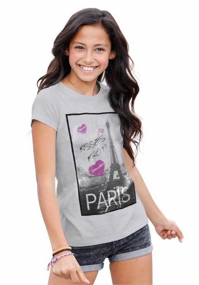 Arizona Longshirt mit Fotodruck, für Mädchen in grau-meliert