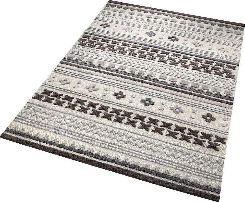 Teppich, ESPRIT, »Ethnic Chic«, reine Schurwolle, handgewebt in grau